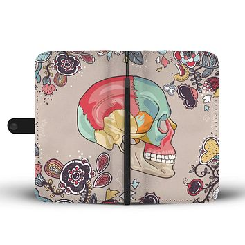 Human Skull Diagram Wallet Phone Case