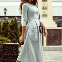 FASHION POCKET SOLID COLOR DRESS