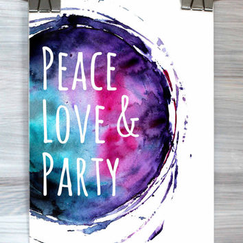 Dorm Room Wall Art Decor Peace Love And Party Print Watercolor Typography College Hipster Bedroom Apartment Poster