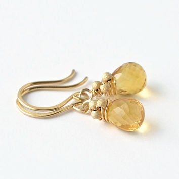 Citrine Earrings / Citrine Dangle Earrings / Yellow Gemstone Earrings / Wire Wrapped Jewelry / November Birthstone Earrings / Gold Filled