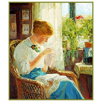 Woman Stitching in the Window inspired by Knud Erik Larsen's Art Counted Cross Stitch Pattern