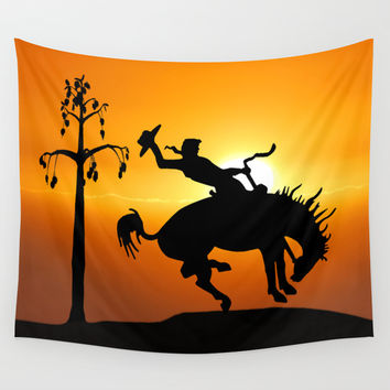 cowboy silhouette Wall Tapestry by Laureenr