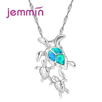 Jemmin Exquisite 925 Sterling Silver Chain Necklace Women Turtle Blue Fire Opal Pendants Necklaces Fine Party Birthday Bijoux