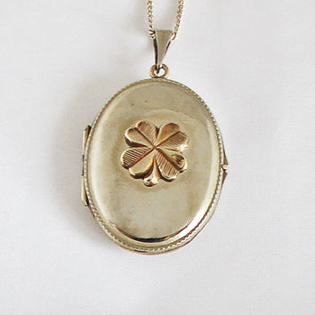 1940s Art Nouveau German Oval Locket Vintage Shamrock Medallion Portrait Photo