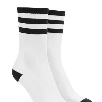 Striped Mesh Crew Socks