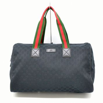 Authentic Gucci GG Canvas Boston Travel Shoulder Hand Bag Black Red Green Italy