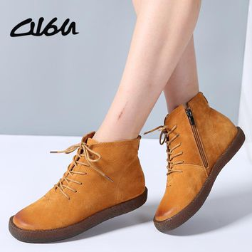 O16U Ankle boots Shoes Women Genuine Leather Lace up Ladies boots Retro Low Heel Rubber boots women autumn boots Winter 2017 NEW
