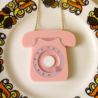 Vintage 60s Style Rotary Telephone Brooch - laser cut acrylic - Kitsch Novelty Brooch Statement Phone Brooch
