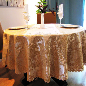vintage golden round tablecloth, floral decor