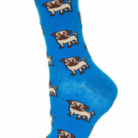 Blue All Over Pug Ankle Socks