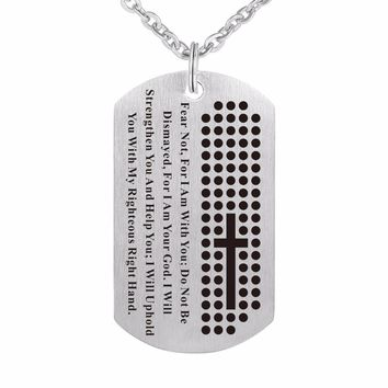 Dog Tag Cross Necklace, Bible Verse - Fear NOT