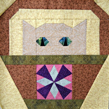 Windmill Cat Quilt Block Pattern