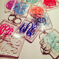 Square Monogrammed Key Chain