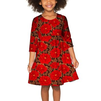 Hot Tango Gloria Fit & Flare Red Lace Print Dress - Girls