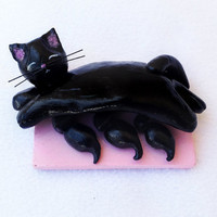 Mommy and Baby Cat Set - Hand Sculpted Polymer Clay Animal OOAK Figurine Miniature Gifts for Mom