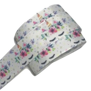 "White floral unicorn face printed 1"" grosgrain ribbon"