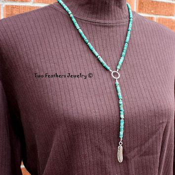 Turquoise Necklace - Silver Feather Necklace - Native American Inspired - Turquoise And Silver - Gift For Her - Beaded - Mothers Day