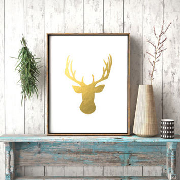 Stag Head Print Deer Wall Art Deer head Printable Wall Art Deer Antlers Gold Deer Print Wall Decor Gold Foil Printable Antlers Gold Foil Art