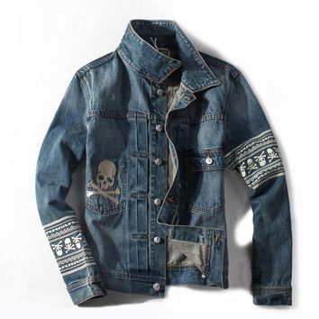 Italian Style Retro Design Men Jacket Skulls Painting Fashion Street Denim Jacket Men Coat Vintage Outerwear Man Brand Clothing