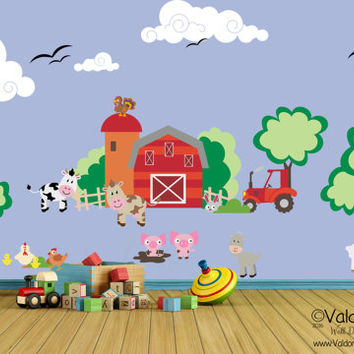 Barn yard fun nursery wall decal, nursery decals, farm animal wall decal, nursery decor, animal wall decal, kids decor, childrens wall decal