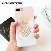 LOVECOM Pink White Marble & Gold Pineapple Case Coque For iPhone 6 6S Plus 7 Plus Soft IMD Mobile Phone Cases Back Cover Bags