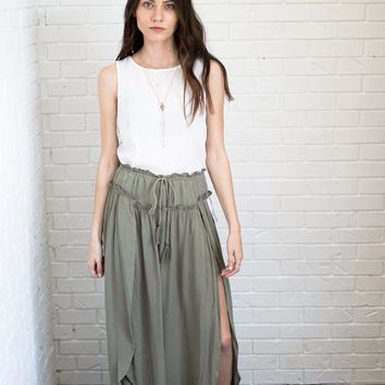 Olive Tie Maxi Skirt