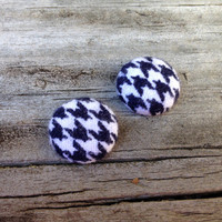 Flannel Houndstooth Earrings, Black Earrings, Fabric Earrings, Button Earrings, Post Earrings, Black and white, Studs, Round, Winter, Xmas