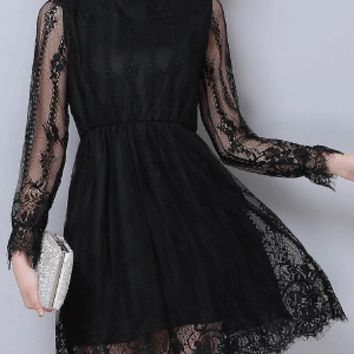 Casual Band Collar Hollow Out Plain Lace Skater Dress