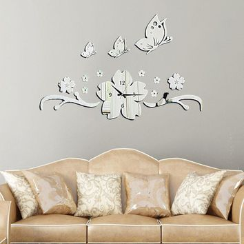 New Butterfly Flower 3D DIY Wall Clock Modern Design Acrylic Mirror Wall Decal Art Stickers for Home Office Decoration