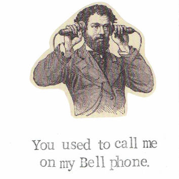 Call Me On My Bell Phone Keep In Touch Card | Hotline Bling Miss You Funny Humor Vintage Steampunk Nerdy Pun Geeky Hipster Men Women