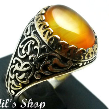 Men's Ring, Turkish Ottoman Style Jewelry, 925 Sterling Silver, Authentic Gift, Traditional, Handmade, With Honey Agate Stone, US Size 11.5