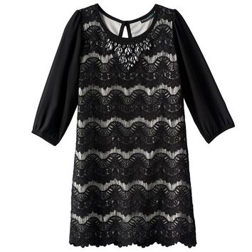 My Michelle Scalloped Lace Shift Dress - Girls