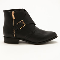 Black Buckle & Zipper Booties