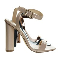 Olov2 Nude Beige By Liliana, Chunky Block Heel High Heel Open Toe Stilettos, Ankle Strap Sandal