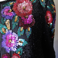 Sequin short jacket, vintage, black, floral, rainbow, long sleeves, collarless. Laurence Kazar jacket