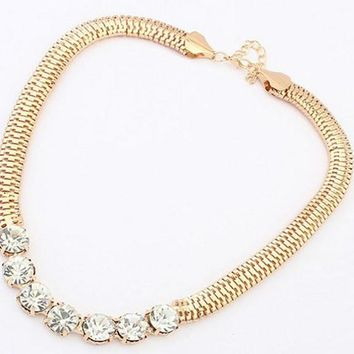New Gold Thick Chain Street Snap Shiny Rhinestones Pendant Necklace