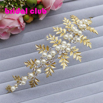 Soft Chain Gold Leaf Pearl Bridal Hair Accessoreis Bridal Wedding Hair Crown Bride Jewelry Accessories Party Decoration