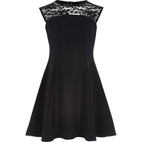 River Island Girls black fit and flare lace dress