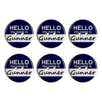 Gunner Hello My Name Is Plastic Resin Button Set of 6