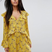 PrettyLittleThing Floral Ruffle Detail Shift Dress at asos.com
