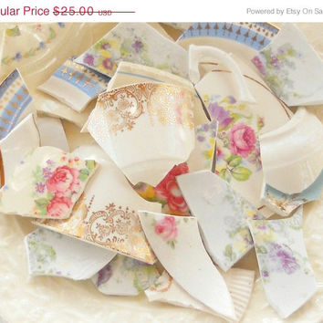 On Sale Vintage Mosaic Tiles, 70 Pieces, China Floral Tiles, Craft Supplies, Altered Art, Repurpose Supplies, Hand Cut