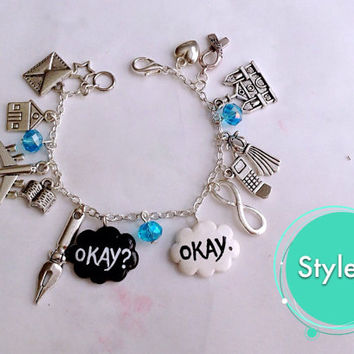 Okay? Okay. Charm Bracelet ( 17 charms ) / The Fault In Our Stars Bracelet / Friendship Jewelry / Made to Order