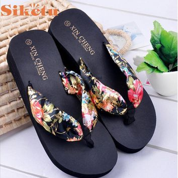 Siketu Elegance New Bohemia Floral Beach Sandals Wedge Platform Thongs Slippers Flip Flops Hot LFY111 Dropshipping