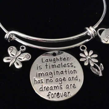 Laughter Inspirational Expandable Silver Charm Bracelet Adjustable Bangle Trendy Gift Butterfly Meaningful Quote