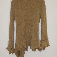 Vintage Anthropologie Chaundry KC Elvin Pixie Fairy Wool knit belted Front Wool Sweater Cardigan Coat M