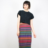 Vintage Maxi Skirt 1990s 90s Wrap Skirt Rainbow Striped Midi Skirt Grunge Skirt Mexican Blanket Southwestern Print Navajo Skirt M Medium