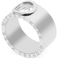 Michael Kors Ring, Silver-Tone Logo Band Ring - Fashion Rings - Jewelry & Watches - Macy's