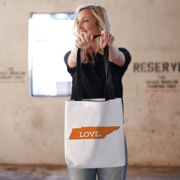 Tennessee State Love Tote Bag in Orange