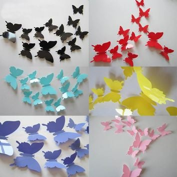 Hot 12pcs 3D Butterfly Wall Stickers Butterflies Docors Art DIY Decoration Paper