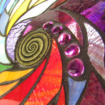 Stained Glass Mosaic Artwork - Spiral II - 18 X 18 inches - Wooden frame - By Glass artist Seba